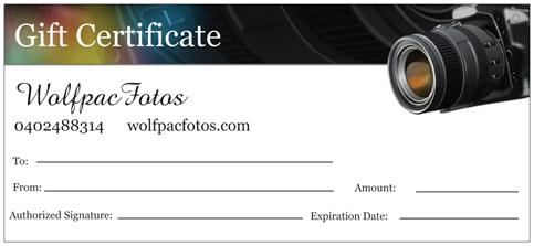 WolfpacFotos Gift Certificate